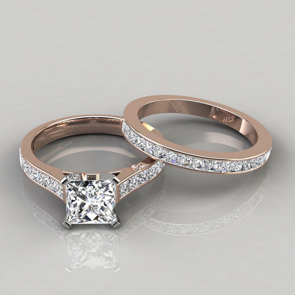 Princess Cathedral Engagement Ring and Wedding Band Set