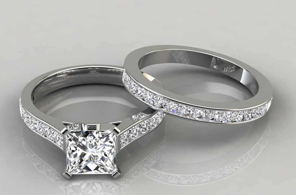 Princess Cathedral Engagement Ring and Wedding Band Set