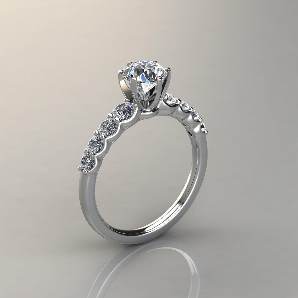 Graduated Side Stone 6 Prong Engagement Ring Puregemsjewels
